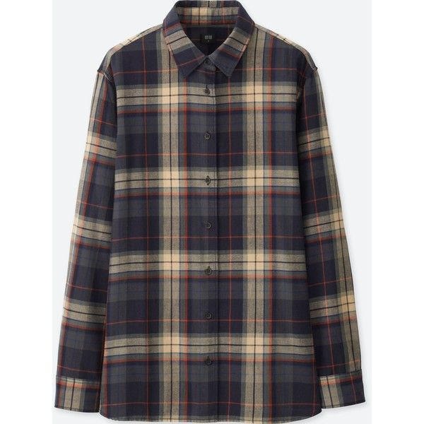 UNIQLO Women's Flannel Checked Long-sleeve Shirt ($20) ❤ liked on Polyvore featuring tops, navy, checked flannel shirt, layering shirts, long sleeve checkered shirt, navy top and navy blue long sleeve shirt