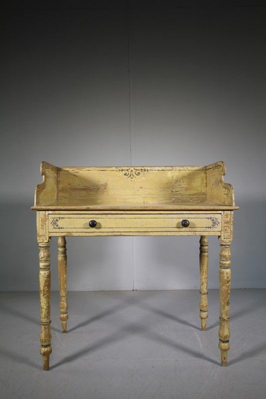 Antique Original Painted Pine Washstand Table Decorative