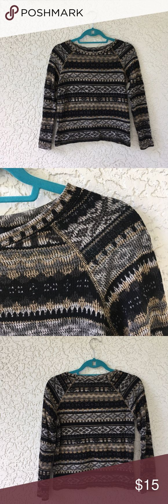 Forever 21 black and brown tribal print sweater In excellent condition! Forever 21 black and brown tribal print sweater. Size small. Please use the offer tool for offers and not in the comments. I'm not interested in trading. Forever 21 Sweaters Crew & Scoop Necks