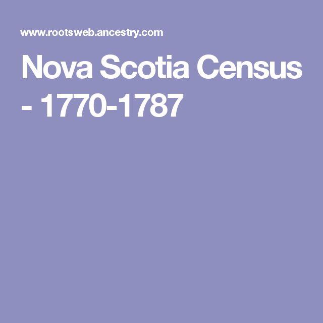 Nova Scotia Census - 1770-1787
