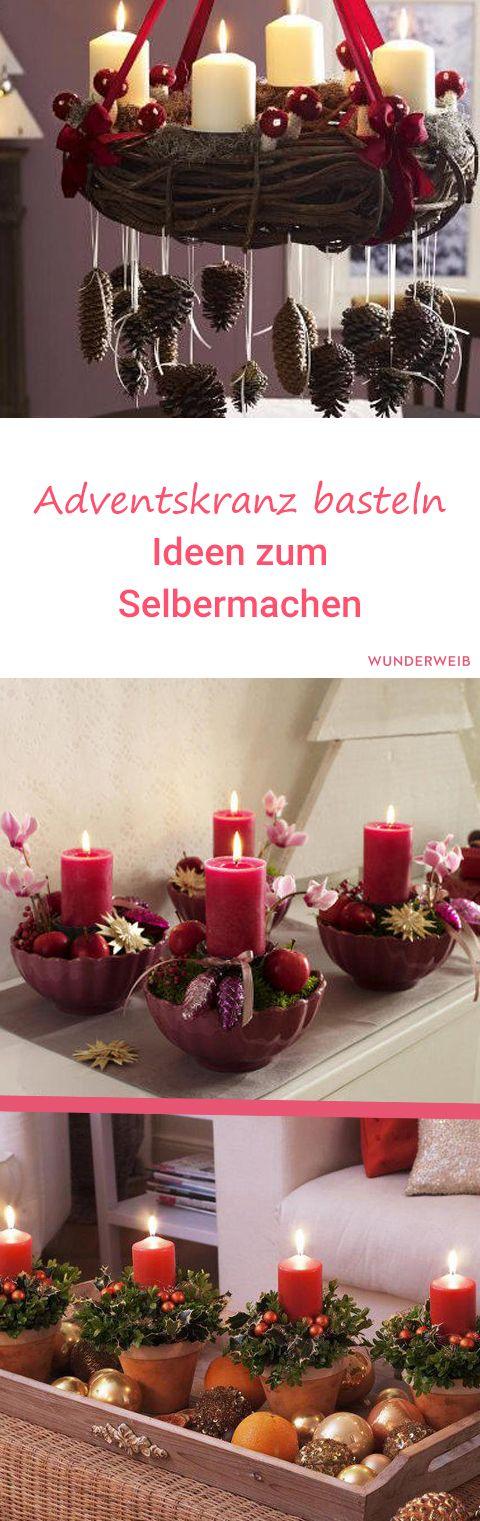 Adventskranz basteln: Mit diesen schönen Ideen macht es noch mehr Spaß! #Adventskranz #advent #basteln
