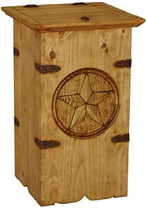 Keep your trash, newspapers, or magazines hidden from sight and out of reach for dog and baby in this sturdy and attractive southwestern style container.  This piece of rustic southwestern furniture will go in any room of your home and it blends well with any casual décor. This trash container has a large carved star and has been made by hand by skilled Mexican craftsmen.