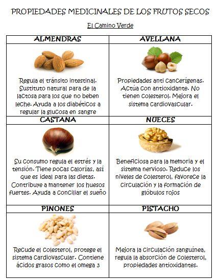 Propiedades medicinales frutos secos