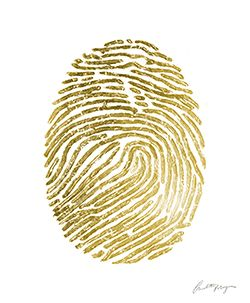 TROWBRIDGE - Hand Painted Gold Fingerprints - Charlotte Morgan has created this modern pair of images featuring the detailed lines of a fingerprint, enlarged to a more abstract scale. The shapes appear like individual forms, oval and solid, however on closer inspection we can see the fragmented and rougher sections within the anatomy. The fingerprints are hand painted and then further embellished with real gold leaf. This lengthily process means that each fingerprint has its own unique…