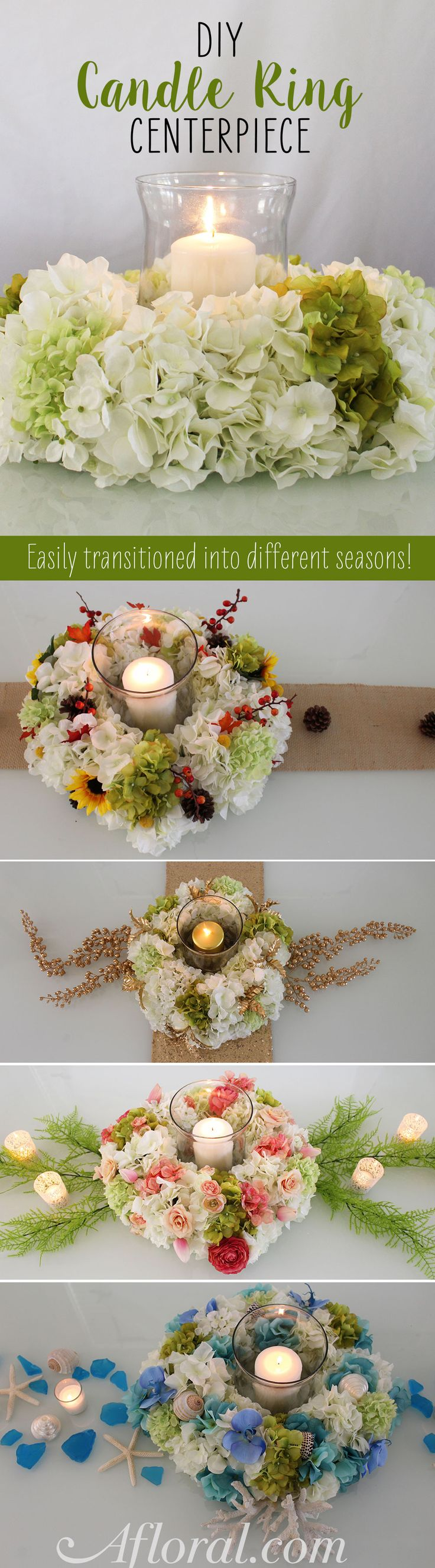 Get a centerpiece for every season with this easy DIY from Afloral.com.  Follow this easy step by step DIY for a fun way to create a candle ring for your table centerpiece.  Mix up the silk flowers and decor for each season!