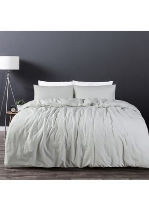 Linen/Cotton Silver Quilt Cover Set - King Bed - Silver