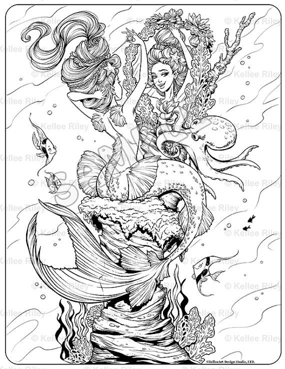 Mermaid's Night Out Adult Coloring Page by KelleeArt on Etsy