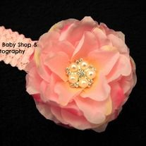 This handmade headband is adorned with a beautiful peals & rhinestones.   *Ultra soft elastic lace headband that will not leave any marks on your little one or you. *Headband is very streaky can fit from newborn to adult. *Perfect touch for any special occasion like birthdays, weddings, photog...