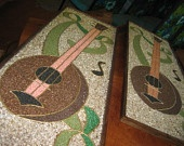 Large Matching Gravel Art Mosaic Pair: Framed Indian Sitars, Notes, Streamers in Greens / Browns / Coral - Midcentury Mixed Media Craft Set