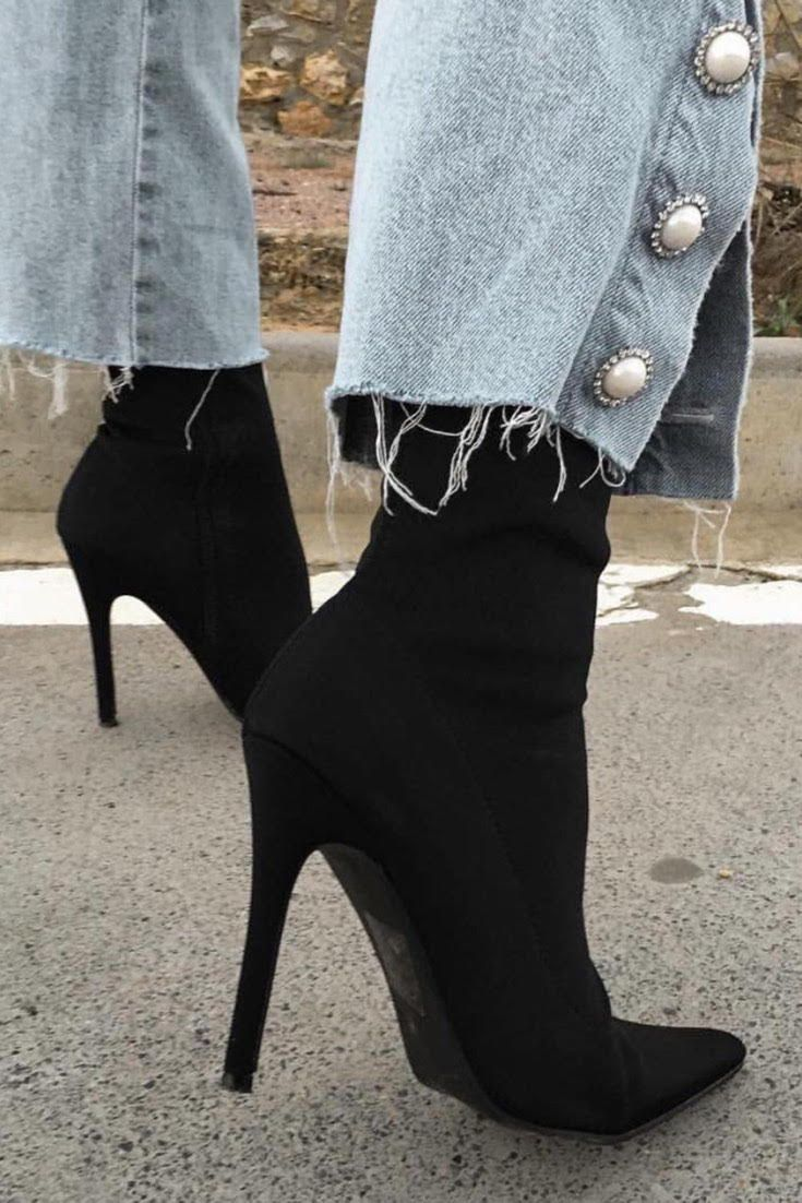0ca26ed62f52 Direct Pointy Sock Boots in Black Stretch. Check out this jeans and heels  outfit! These comfy heels are perfect for any outfit ideas!