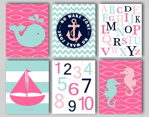 Hey, I found this really awesome Etsy listing at https://www.etsy.com/listing/193160187/baby-girl-nursery-art-nautical-nursery