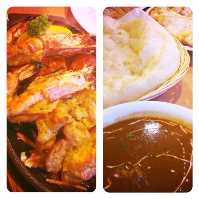 バターチキンカレー、ブラックスパイシーカレー、スープ、ベジタブルサラダ、チキンティカ、ガーリックティカ、タンドリーシュリンプ、チーズナン、ナン、アイスチャイ  ネパール人の感じのいいお母さん❗️美味しかった。ミトチャ&ナマステ - 82件のもぐもぐ - インド料理@岐阜県安八郡 by Fumi