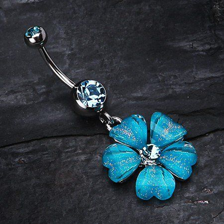 Shimmering Flower Heart Petal Dangle Belly Ring