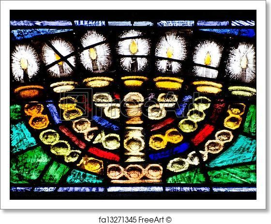 """Free large 11""""X14"""" art print of the week Window of the seven-branched lampstand of the Jewish Menorah in the Temple Offer Ends: 12/1/17"""