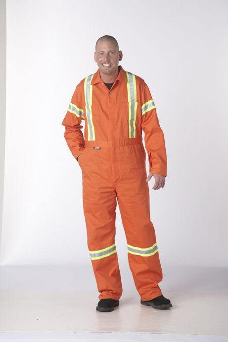Zip Front Coveralls w/Hi-Vis Reflective Tape : All the same features as the C100 Coverall with the added protection of high visibility reflective tape to keep you safe at the job site.