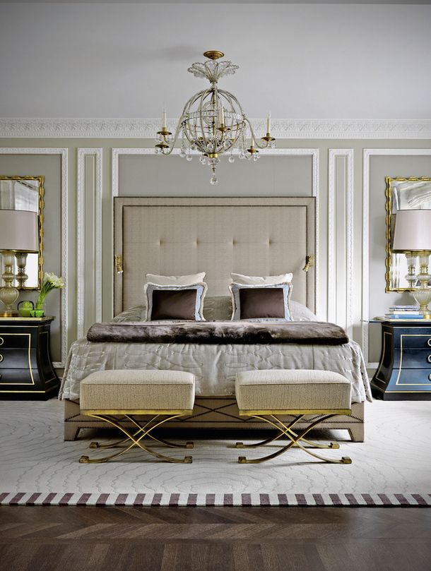 Classic Bedroom in Neutrals - wall behind is kind of classy!
