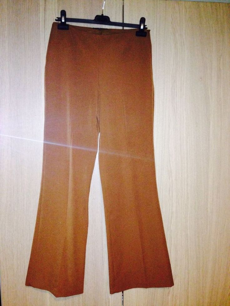 Womens Casual Smart Camel Zip Up Stretchy Flared Trousers UK 10 32L Papaya