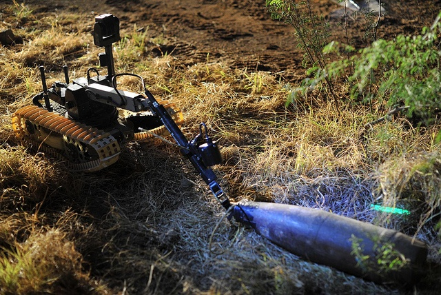 A Canadian Navy remote controlled Explosive Ordnance Disposal robot drags an improvised explosive device (IED) from the brush for further inspection during an IED training scenario.