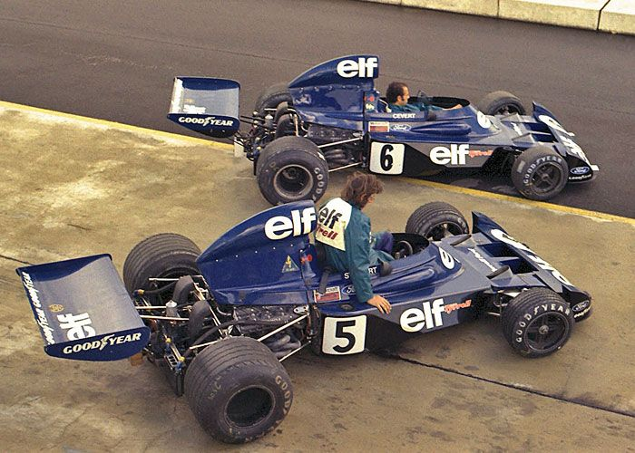 1973 Elf Team Tyrrell - back when the mechanics were allowed to give the cars a quick spin!