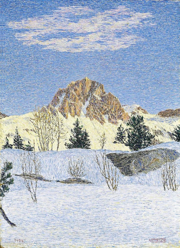 Gottardo Segantini (Swiss, 1882-1974), Winter landscape, 1952. Oil on board, 58.5 x 42.5 cm.