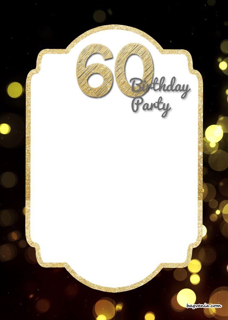 Nice FREE Printable 60th Birthday Invitation Templates