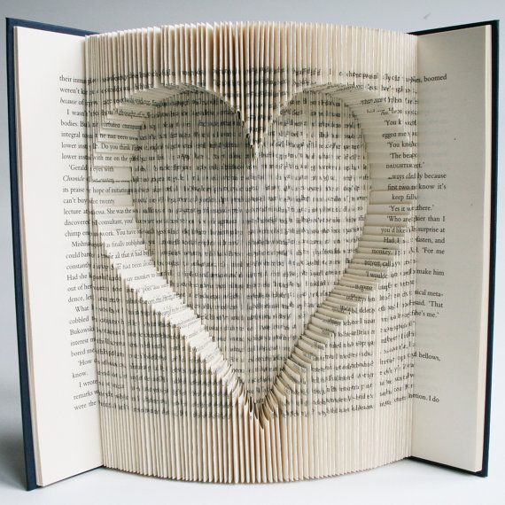Book Folding Pattern with cuts Inverted Heart: + Free printable downloads (pdf) to personalise your book art and full step by step tutorial