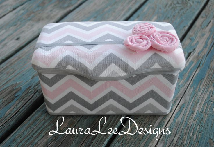 Pink and Gray Chevron with Rolled Flowers Boutique Style Nursery Wipe Case READY TO SHIP. $15.99, via Etsy.