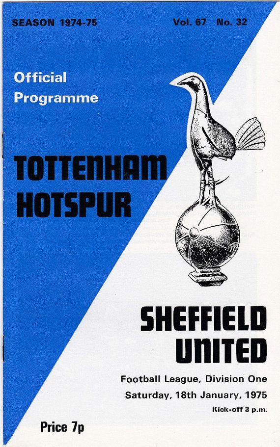 Vintage Football (soccer) Programme - Tottenham Hotspur v Sheffield United, 1974/75 season #football #soccer #tottenham #spurs
