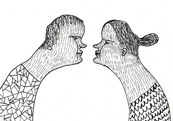 nose to nose  / ORIGINAL ILLUSTRATION / ink drawing por Tosya