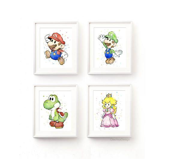 Princesa Peach acuarela lámina de princesa Peach Mario