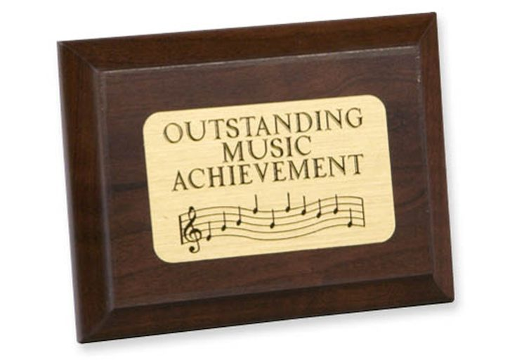 "OUTSTANDING MUSIC PLAQUE - Wooden achievement plaque, with brass-finish mylar plate (not for engraving). 4"" x 3""."