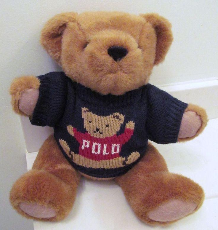 "RALPH LAUREN POLO 1997 Teddy Bear Plush Toy Trademark Sweater Movable Legs 15"" #RALPHLAURENPOLO #AllOccasion"