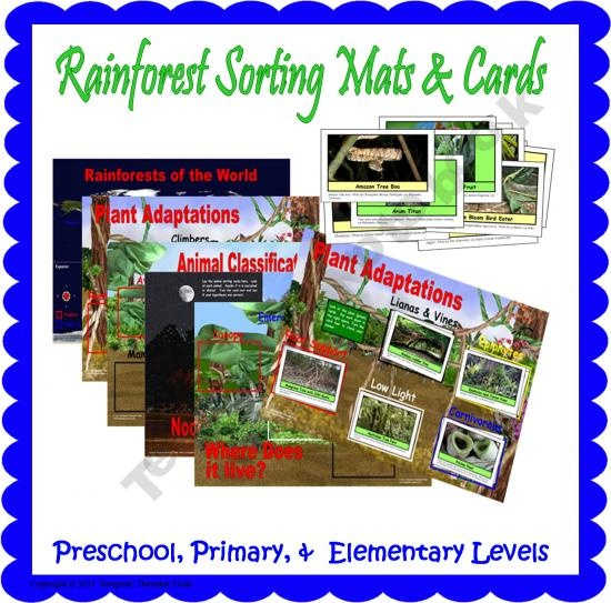 64 rainforest plant and animals cards at 3 levels--preschool, primary, and elementary.  The self checking cards can be sorted using the included sorting mats.  Includes topics Diurnal/Nocturnal, Plant Adaptations, Where Does it Live? Animal Classification, and World Rainforest Map.