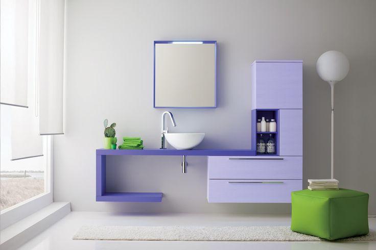 Mobile da bagno laccato lilla Viola