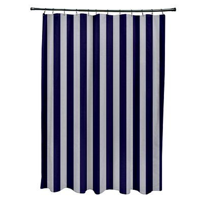 e by design Striped Shower Curtain Color: Rain/Spring Navy