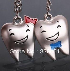 Couple key chain personalized teeth happy smile couple keychain good gift B-294
