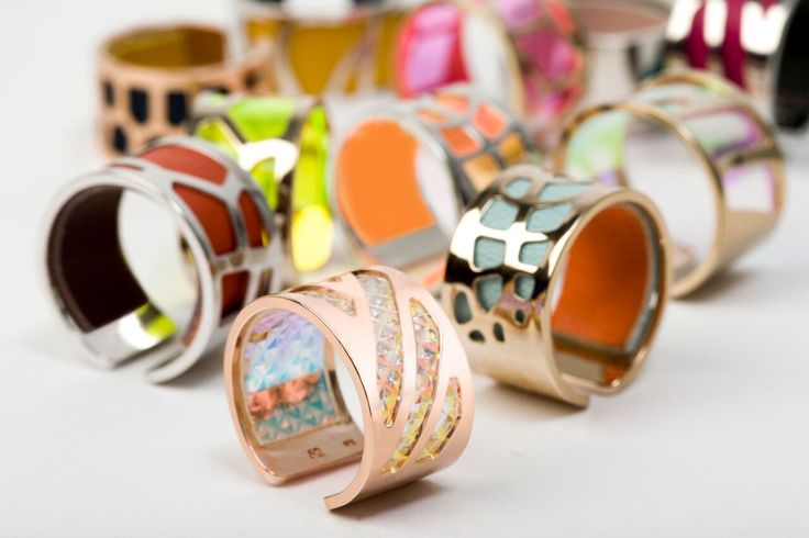 Les georgettes rings with leather inserts. great for summer!