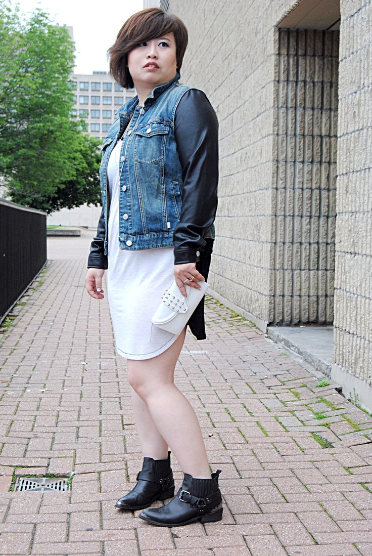 Aritzia dress and denim jacket, Zara booties, Alexandra McQueen Mcq studded wallet