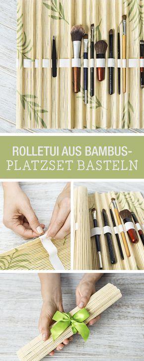 DIY-Anleitung: Tasche für all Deine Make-Up Pinsel aus Bambus Platzdeckchen selbst machen / DIY tutorial: making an etui for all your make-up brushes out of bamboo placemats via DaWanda.com