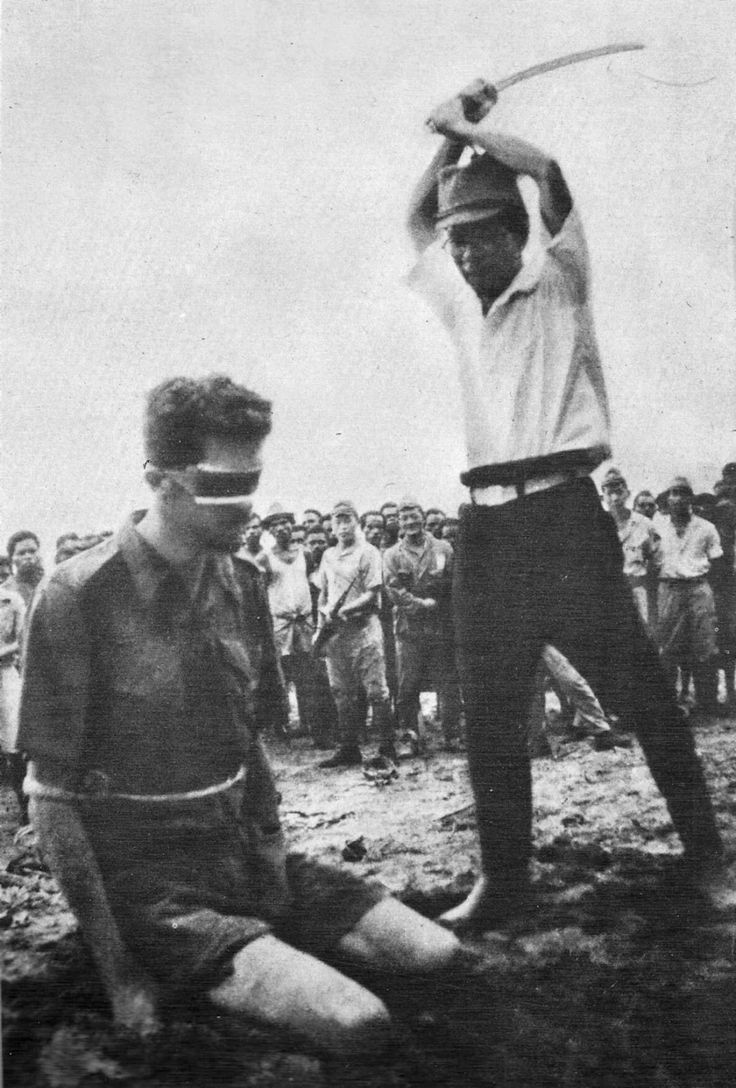 Execution of Leonard Siffleet by a Japanese soldier during World War II