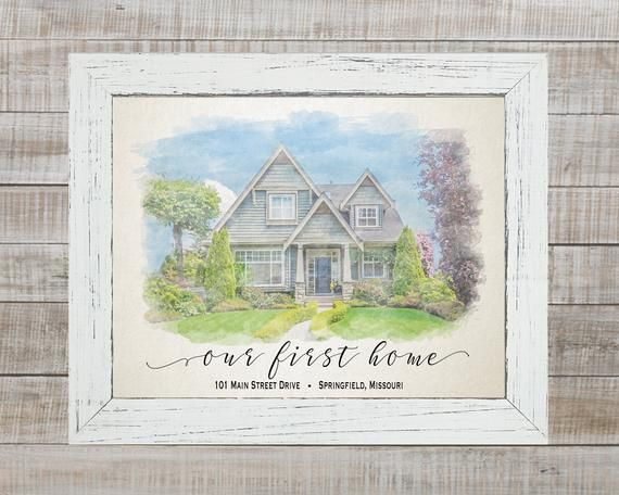 Custom watercolor painting Anniversary Gift Unique gift House portrait Mother/'s Day Gift