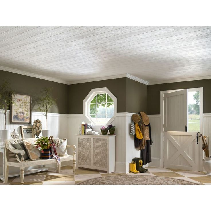 Shop Armstrong HomeStyle 20-Pack White Faux Wood Surface-Mount Acoustic Plank Ceiling Tiles (Common: 48-in x 6-in; Actual: 48.672-in x 6.682-in) at Lowes.com