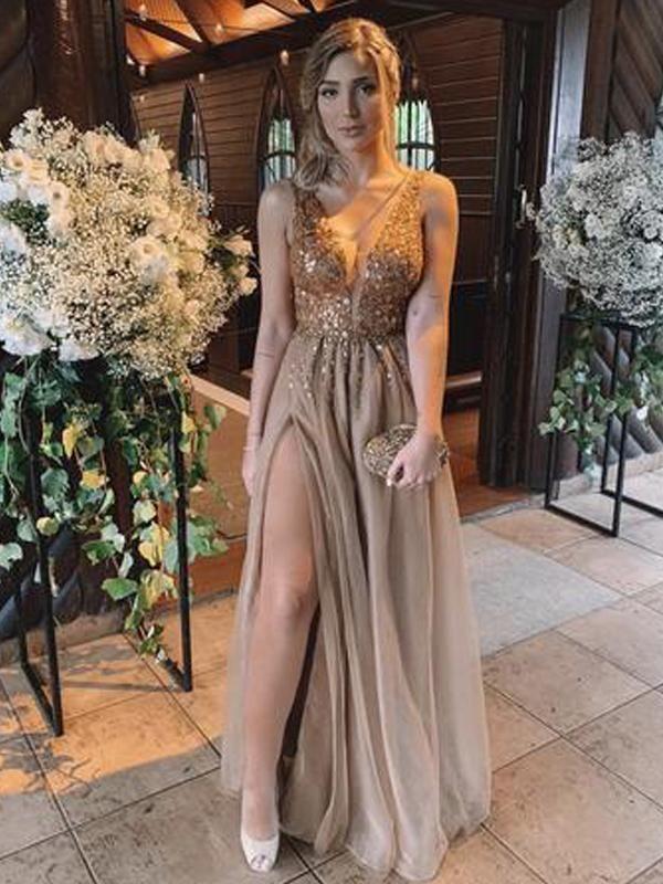 V-neck Rhinestone Long A-line Side Slit Prom Dresses