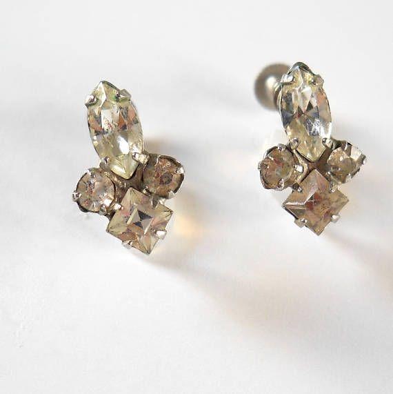 Vintage Rhinestone Earrings  Screw on Earrings