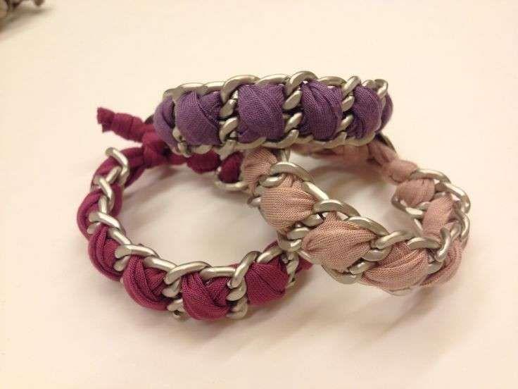 Bracciali fai da te catena e fettuccia - Bracciali di vari colori