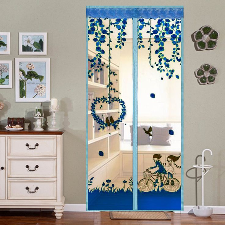 Honana WX-1 Noiseless Automatic Closing Door Curtain Magnetic Printed Flower Sheer Anti-mosquito Net