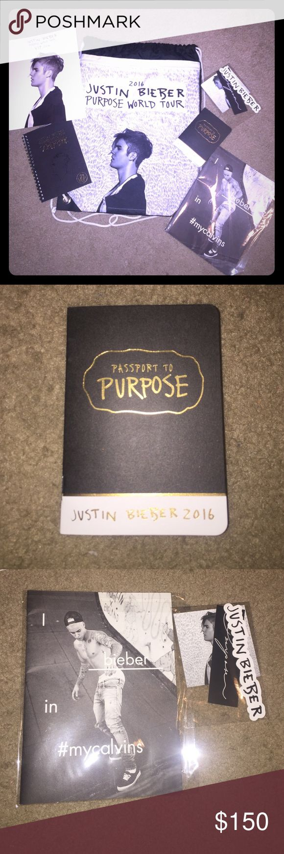 "◼️SALE⬛️JUSTIN BIEBER PURPOSE WORLD TOUR PACKAGE ◼️◼️HOLIDAY SALE. $50 OFF◼️◼️ FEEL FREE TO MAKE OFFERS IN THE COMMENTS ON INDIVIDUAL ITEMS IN THE PACKAGE. The Justin Bieber Purpose World Tour Package. Package includes everything EXCEPT: ""sorry"" hat. INCLUDED in package: 1) Justin Bieber purpose world tour scrapbook 2) Justin Bieber purpose world tour VIP 2016 poster 3) I Bieber in my calvins photo book 4) passport to purpose 5) Bieber stickers package 6) purpose world tour backpack Bags"