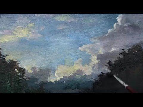 Yagliboya Gri Gokyuzu Resmi Nasil Cizilir Kursuni Bulutlu Gokyuzu Cizimi Drawing