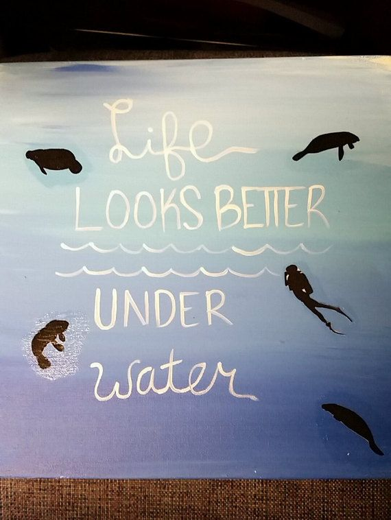 Scuba Diving Canvas Painting by PaintingsByEmiDesign on Etsy
