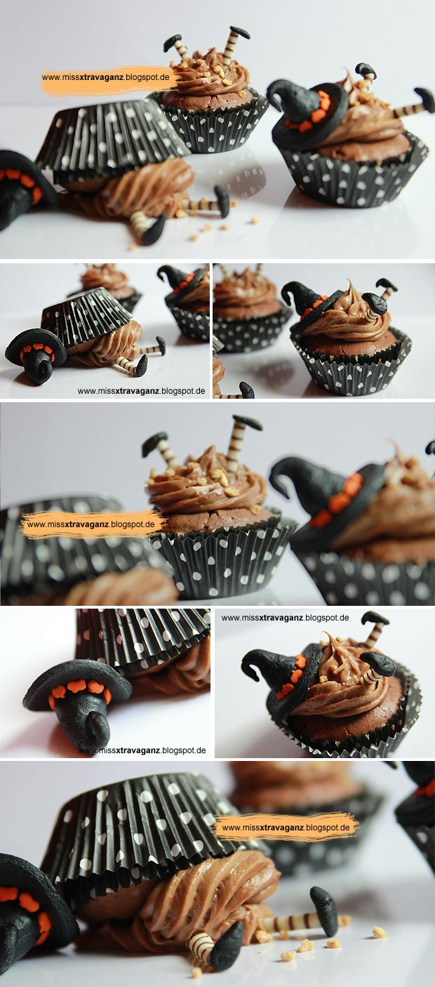 Bewitched Hexige Halloween Cupcakes from Miss von Xtravaganz - love the overturned cupcake could do as a St. Patrick's Day treat with leprechauns?
